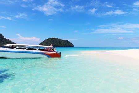 Speed Boat parking at Khai island, Tarutao national park, Satun Province, Thailand
