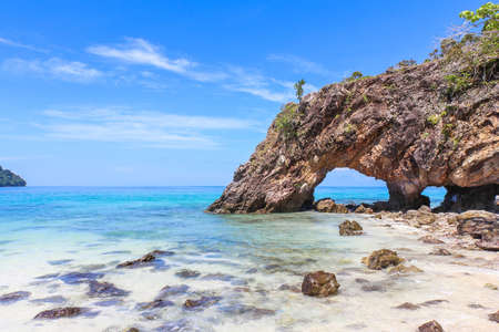 Stone arch at Khai Island, Tarutao National Park, Satun Province, Thailand