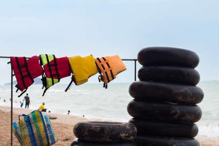 Swim Ring and the life vest Stock Photo