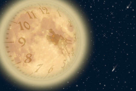 Moon with clock dial Stock Photo