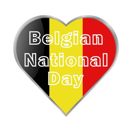 Belgian National Day is celebrated annually on July 21 with a vector poster in traditional red-yellow-black colors. All elements are isolated.  イラスト・ベクター素材