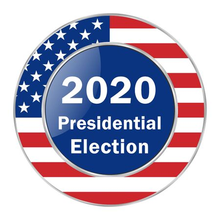 Presidential Election 2020 in the United States of America, web banner with the colors of the American flag on a transparent background. All elements are isolated. Vettoriali