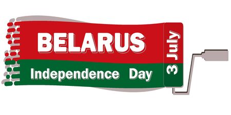 Belarus Independence Day is annually celebrated on July 3, poster with a congratulation in red-green colors of the flag paint mark after a construction roll. All elements are isolated.  イラスト・ベクター素材