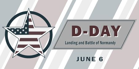 D-Day, Normandy landings concept June 6, 1944 during the Neptune military operation. Vector template for design. All elements are isolated. 向量圖像