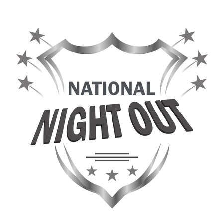 National Night Out is a sign for poster design, held in the USA every first Tuesday of August in order to raise public awareness about the work of police, fire, ambulance and other emergency services. Banque d'images - 151068144