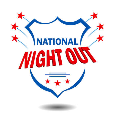 National Night Out is a sign for poster design, held in the USA every first Tuesday of August in order to raise public awareness about the work of police, fire, ambulance and other emergency services.