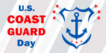 United States Coast Guard day. Federal holiday celebrated annually on 4 August. Marine style banner with anchor and shield to remind you of the importance of coastal troops. All elements are isolated.