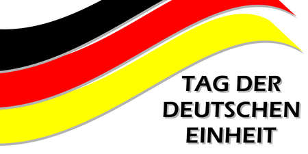 Flag of Germany and the text Tag der Deutschen Einheit, Day of German Unity written in German. Vector poster for design. 일러스트