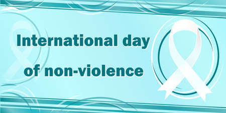 International day of non-violence and its symbol white ribbon on a festive banner. All elements are isolated.