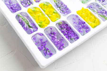 Ice cubes with yellow and violet flowers in a tray close-up. Bright hues