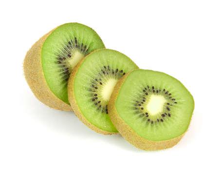 fruit: Kiwi fruit sliced segments isolated on white Stock Photo