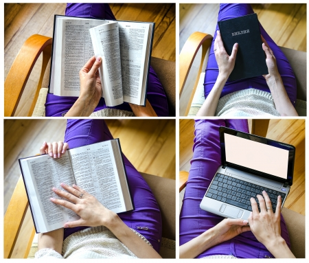 The girl with the Bible and Girl with a laptop collage photo