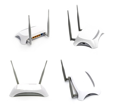 White router for wi-fi on a light background collage photo