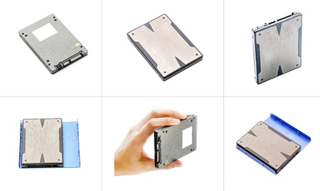 SSD  hard drive on a white background collage photo