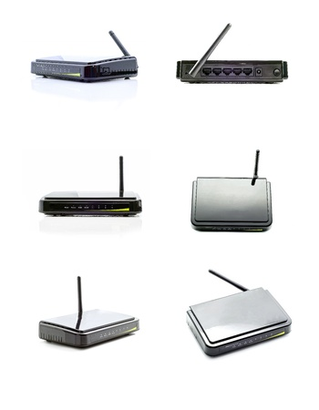 Black wi-fi router on the light background collage Stock Photo
