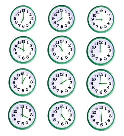 Isolated office wall clock collage of twelve objects
