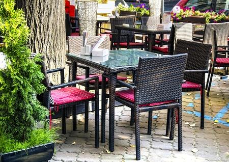 Restaurant interior in the open air