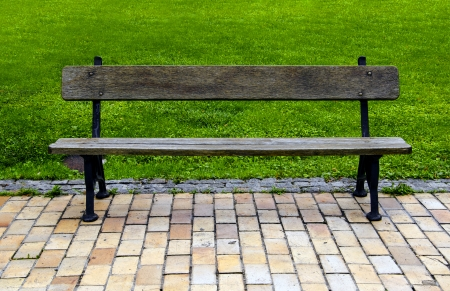 ferrous: Old bench wooden and ferrous in park Stock Photo