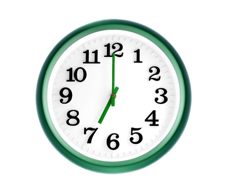 seven o'clock: Isolated green wall clock on white background Stock Photo