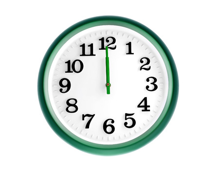 Isolated green wall clock on white background Stock Photo