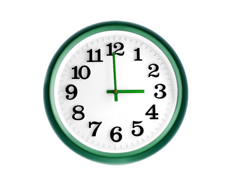 Isolated green wall clock on white background photo