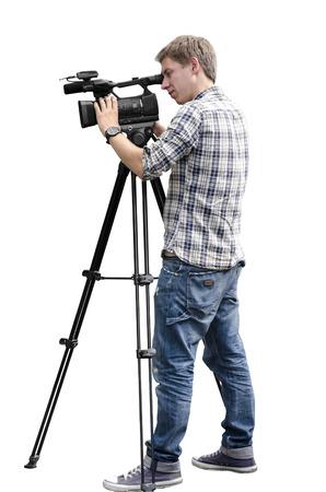 to  camera: Video camera operator