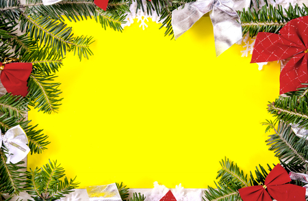 Christmas frame for congratulations and yellow paper
