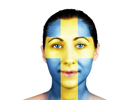 Swedish flag on a women face photo