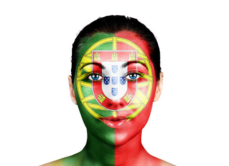 Face of a woman with the Portugal flag photo