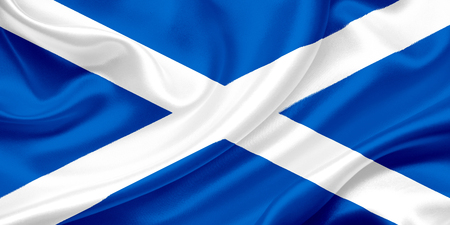 Flag of Scotland on a silk cloth