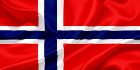 ethnical: Flag of  Norway waving in the wind