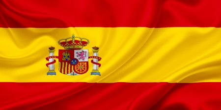 Flag of Spain waving in the wind photo