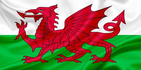 Flag of Wales on a silk cloth