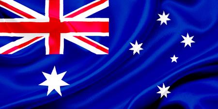 바람에 물결 치는 오스트레일리아의 국기 스톡 콘텐츠