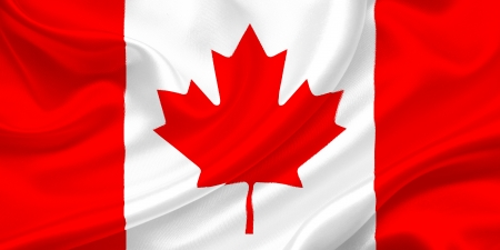 Flag of  Canada waving in the wind Stock Photo