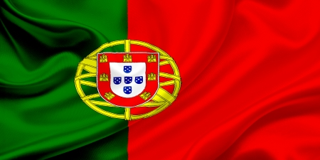 Flag of Portugal Waving In The Wind photo