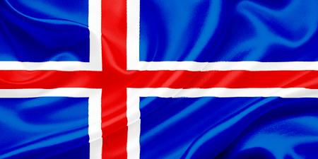 flag of iceland: Islandia bandera ondeando en el viento