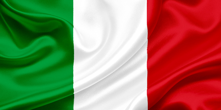 Flag of Italy waving in the wind photo