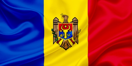 Flag of Moldova Waving In The Wind Imagens