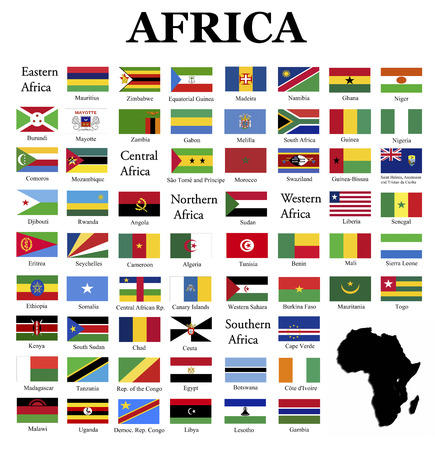 Flags of Africa- complete set of flags in original colors over white background photo