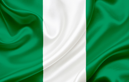 Flag of Nigeria waving in the wind Stock Photo