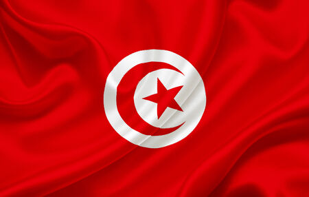 Flag of Tunisia waving in the wind photo