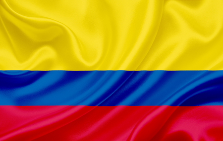 Flag of Colombia waving in the wind Stock Photo