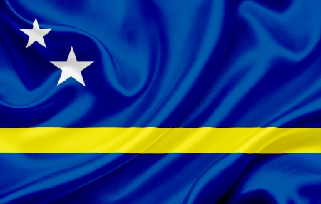 curacao: Flag of Curacao waving in the wind