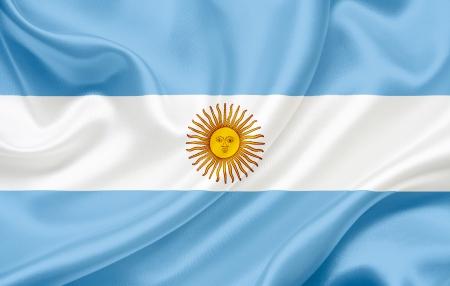 바람에 물결 치는 아르헨티나의 국기 스톡 콘텐츠