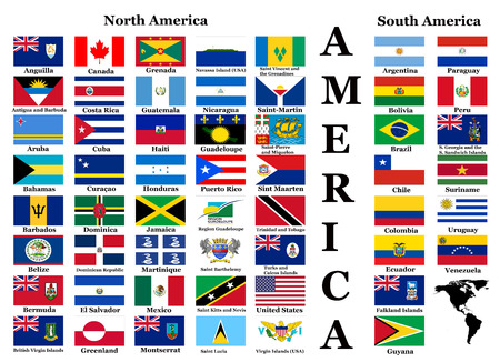 Flags of America - complete set of flags in original colors over white background photo