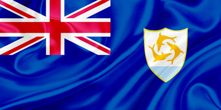 anguilla: Flag of Anguilla waving in the wind