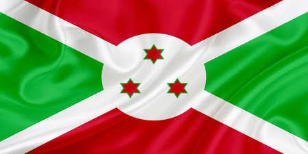 burundi: Flag of Burundi waving in the wind Stock Photo
