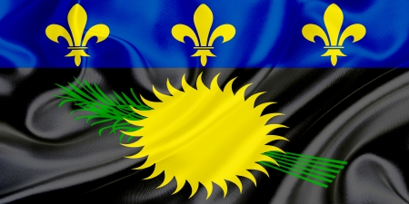 guadeloupe: Flag of Guadeloupe waving in the wind Stock Photo