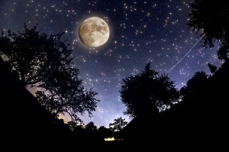 Starry Sky and full moon photo